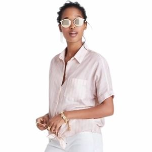 Madewell Pink White Stripe Tie Front Button Shirt